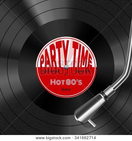 Vinyl Record Disc With Stylus In Groove Realistic Closeup Top View Image Hot 1980s Retro Vector Illu