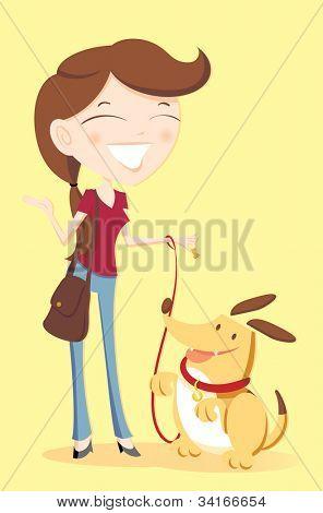 Illustration of a female dog sitter