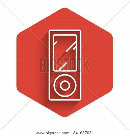 White Line Music Player Icon Isolated With Long Shadow. Portable Music Device. Red Hexagon Button. V