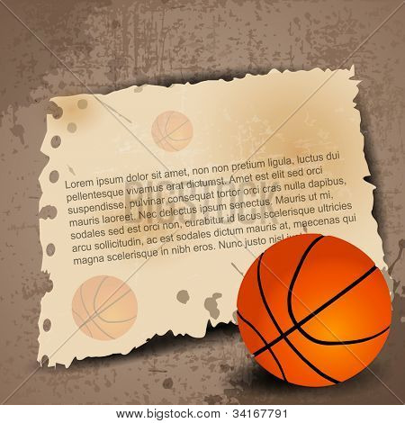 Illustration of Basketball with paper for your text on grungy retro background. EPS 10.
