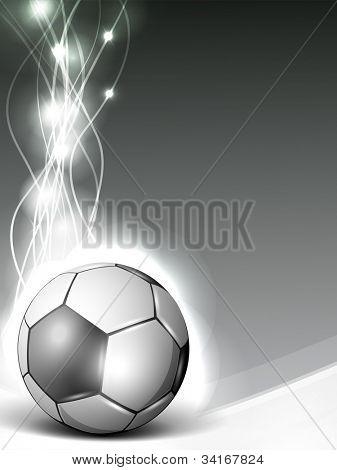 Shiny soccer ball or football on shiny wave background. EPS 10.