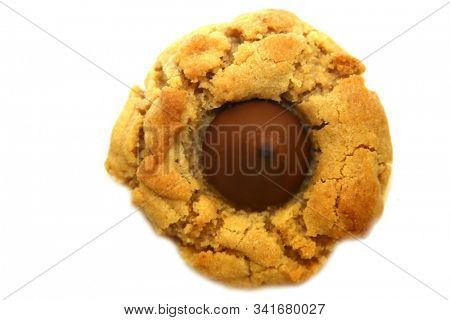 Chocolate and Peanut Butter Cookies. Peanut Butter Blossom Cookies. Isolated on white. Room for text. Clipping Path. Christmas Cookies. Home made cookies for Christmas and Holidays. Merry Christmas.