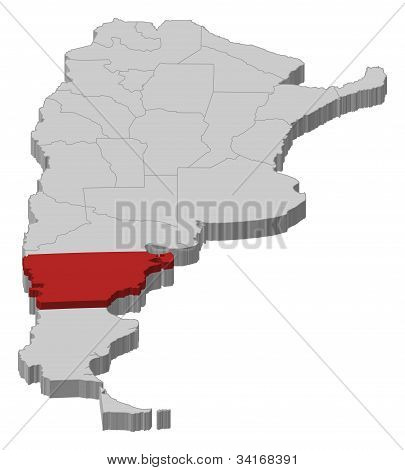 Map Of Argentina, Chubut Highlighted