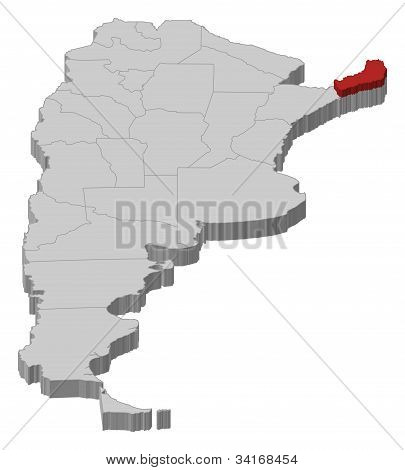 Map Of Argentina, Misiones Highlighted