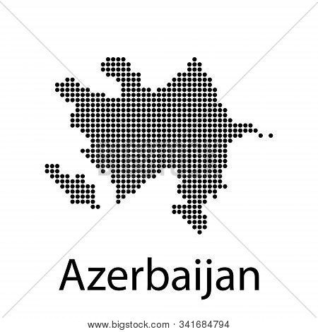 Pixel Map Of Azerbaijan. Vector Dotted Map Of Azerbaijan Isolated On White Background. Azerbaijan Ma
