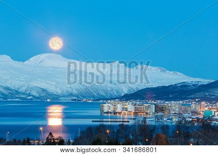 Tromso At Full Moon In Winter Time, Aerial View, Christmas in Tromso, Norway