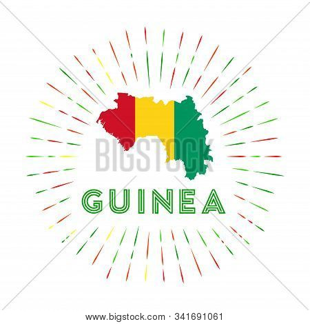 Guinea Sunburst Badge. The Country Sign With Map Of Guinea With Guinean Flag. Colorful Rays Around T