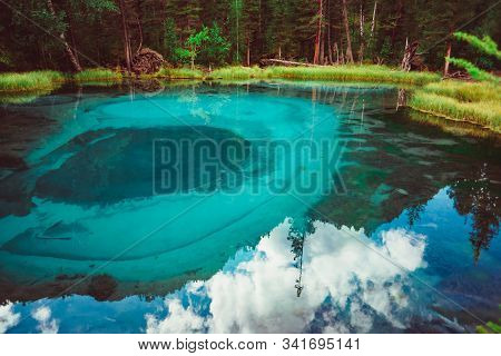 Hot Spring Lake In The Altai In Russia, The Turquoise Water