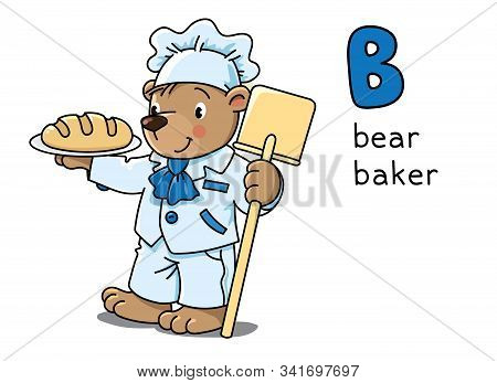 Bear Baker Animals And Professions Abc. Alphabet B