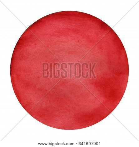 Abstract Circle Paint Background Red Color Isolated On White. Round Watercolor Gradiented Fill On Pa