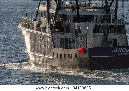 Fairhaven, Massachusetts, Usa - December 7, 2019: Commercial Fishing Vessel Vanquish, Hailing Port D
