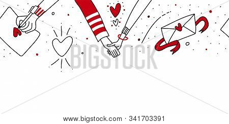 Valentine Day Or Christmas Seamless Horizontal Romantic Border.male And Female Hand Holding Together