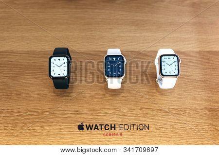 Turkey, Istanbul, December 20 2019 Modern Stylish Apple Watch 5 Series
