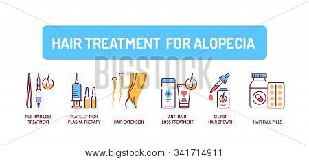Hair Treatment For Alopecia Color Line Icons Set. Tools And Actions That Can Help Cure Baldness. Alo