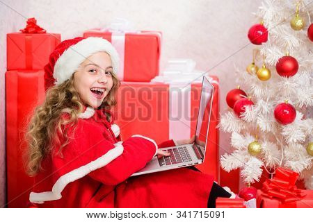 Online Santa. Christmas And New Year Holiday. Writing Letter To Santa Claus. Winter Tradition. Kid C