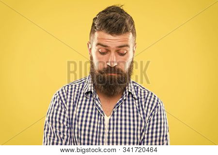 Feeling Sorry. Embarrassment Concept. Feel So Sorry. Man Bearded Regretful Face. Guy Bearded Sorry.