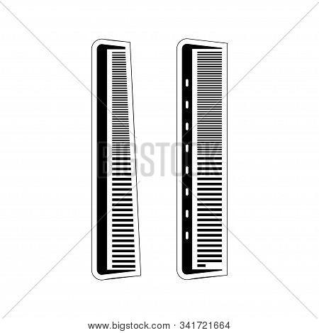 Barber Comb. Barber Shop Icon. Black Flat Illustration For Barber, Isolated White Background