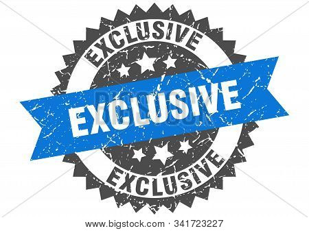 Exclusive Grunge Stamp With Blue Band. Exclusive