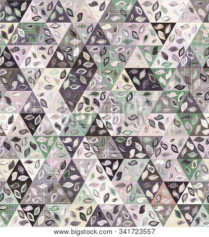 Delicate Dainty Leaves In Triangles Geo Pattern