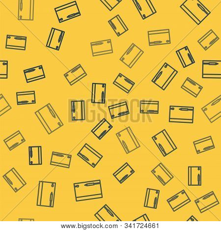 Blue Line Underwater Note Book And Pencil For Snorkeling Icon Isolated Seamless Pattern On Yellow Ba