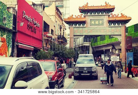 Chinatown, Buenos Aires Argentina- August 29, 2019. Typical Archway.