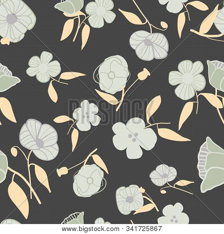 Abstract Stylized Poppies Seamless Vector Pattern. Elegant Floral Print With Grey, Charcoal And Ecru