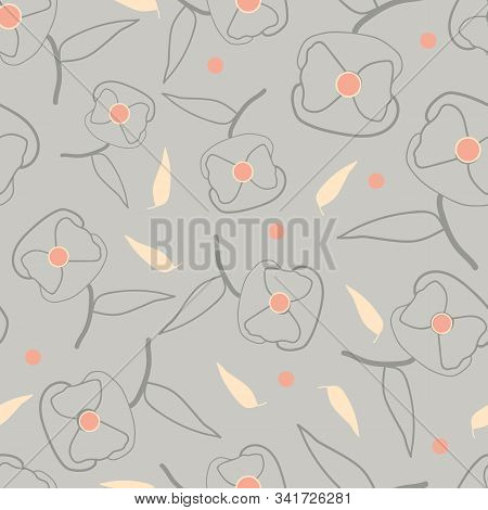 Abstract Stylized Poppies Seamless Vector Pattern. Elegant Floral Print With Grey, Salmon Pink And E