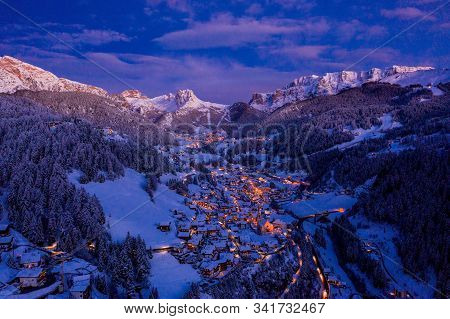 Beautiful Panoramic View Of Dolomites Mountains At Dusk During Winter Time. Magical Winter Mountain