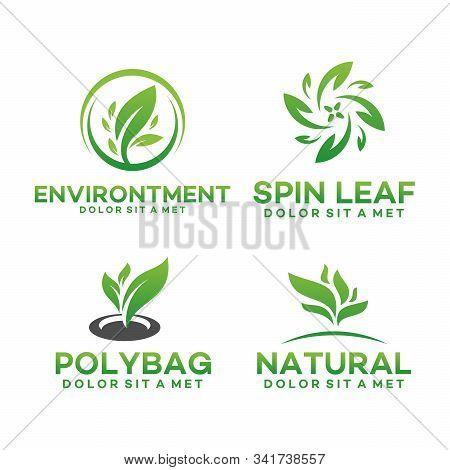 Set Of Fresh Nature Leaf Logo, Environment Logo , Ecology Logo Template Designs