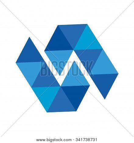N, Nl, Lt, Lnl, Tnt Initials Triangle Geometric Polygonal Blue Diamond Vector Illustration And Logo