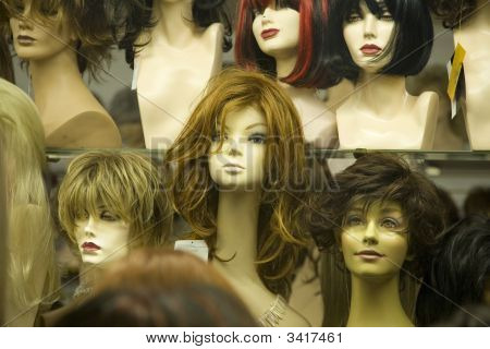 Mannikin Heads In A Wig Store