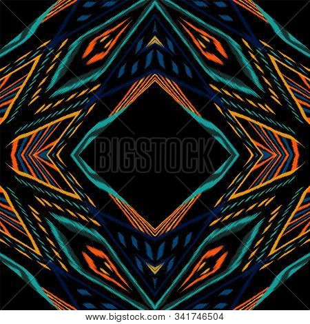 Crimson Vintage Batik. Cobalt Chevron Vector Seamless Pattern. Japanese Chevron Abstract Background.