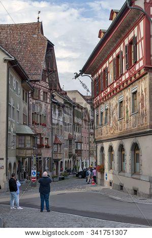 Stein Am Rhein, Switzerland - October 2019: Scene Of Rathausplatz, A Town Square In Old Small City O