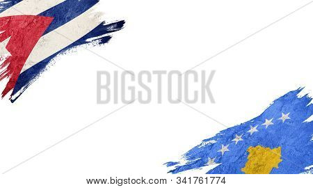 Flags of Cuba andKosovo on White Background poster