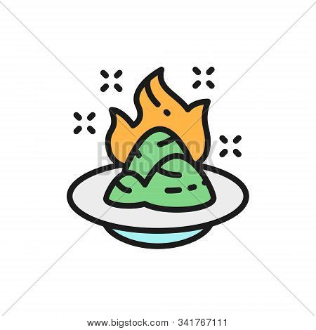 Wasabi, Japanese Horseradish, Spicy Seasoning Flat Color Line Icon.