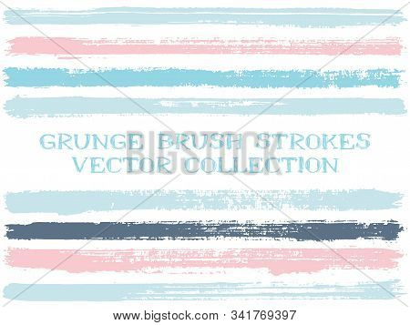 Long Pink Blue Ink Brush Strokes Isolated Design Elements. Set Of Paint Lines. Grungy Stripes, Textu