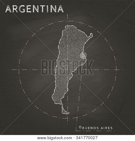 Argentina Map Hand Drawn With Chalk On A School Blackboard. Vector Illustration.
