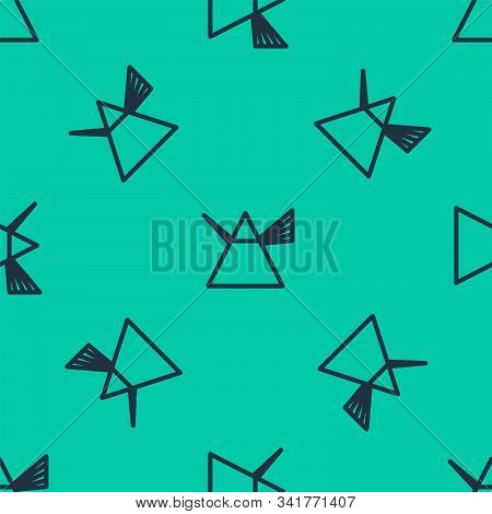 Blue Line Light Rays In Prism Icon Isolated Seamless Pattern On Green Background. Ray Rainbow Spectr