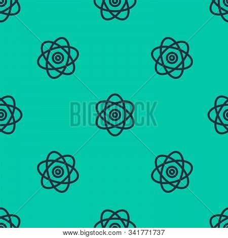 Blue Line Atom Icon Isolated Seamless Pattern On Green Background. Symbol Of Science, Education, Nuc