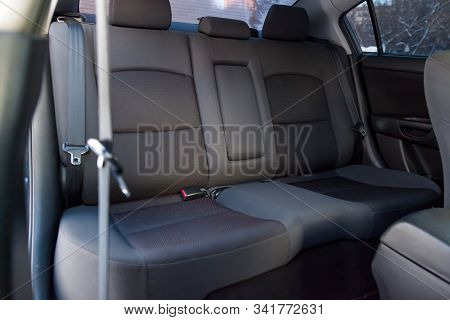 Close-up On Rear Seats With Velours Fabric Upholstery In The Interior Of An Old Japan Car In Gray Af