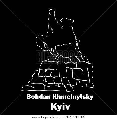 Sights Of Ukraine. Monument To Kozak. Bohdan Khmelnytsky. The Horseman On Horseback. Kiev. Logo Vect