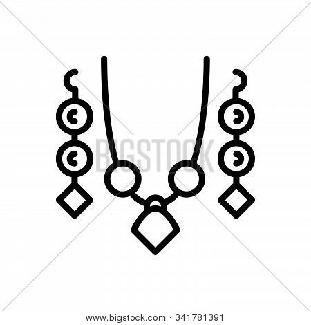 Black line icon for set jewellery ornament decoration jewelry embellishment adornment poster