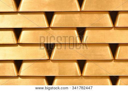 Gold Bullion Wall Texture. Gold Bullion Background, Pattern