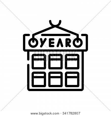 Black Line Icon For Year Month Calendar Dairy Almanac