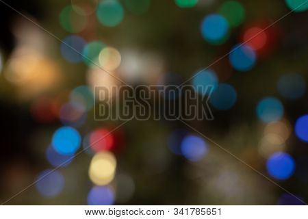 Multicolour Defocused Bokeh Lights In The Night For Background New Year Festive