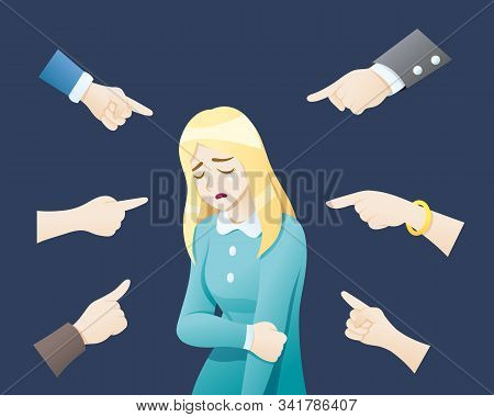 Depressed Woman Being Bullied Surrounded By Hands. Sad Or Depressed Young Woman Surrounded By Hands