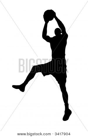Black basketball player silhouette on white background poster