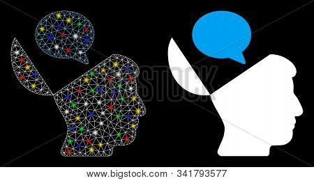 Glowing Mesh Open Mind Opinion Icon With Lightspot Effect. Abstract Illuminated Model Of Open Mind O