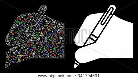 Bright Mesh Signature Icon With Sparkle Effect. Abstract Illuminated Model Of Signature. Shiny Wire