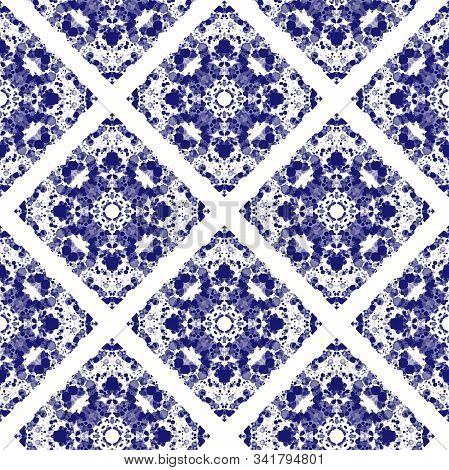 Seamless Portugal Azulejos Pattern. Blue And White Mosaic Tile For Ceramic Tableware, Pottery, Texti